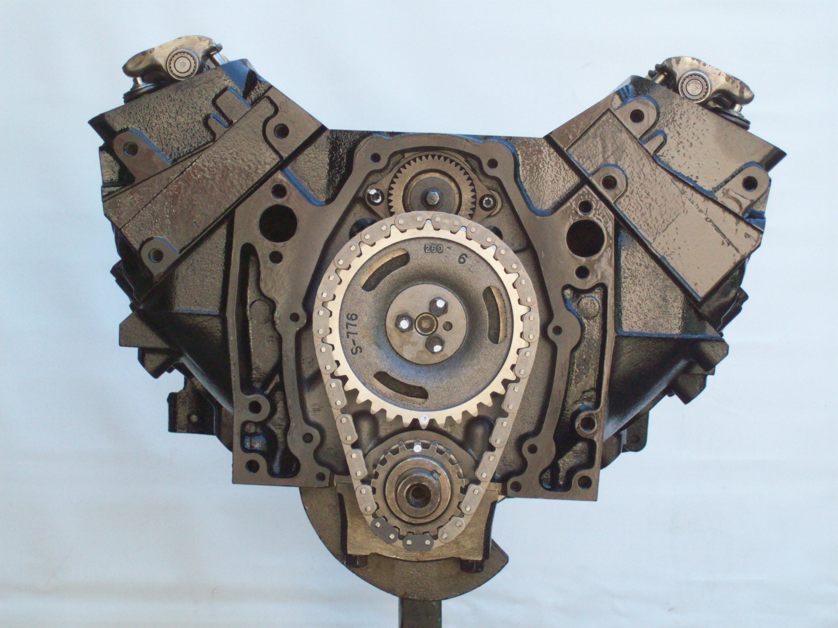 Marine Longblock W Bal Shaft And Bolt Timing Cover on Chevy 235 Long Block